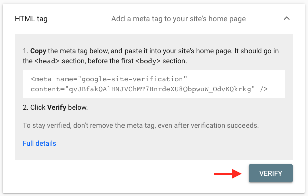Verification on Google Search Console