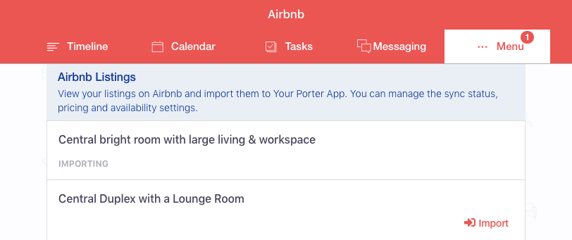 Airbnb listing importing