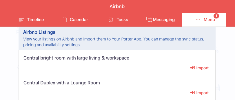 Airbnb Import Listings