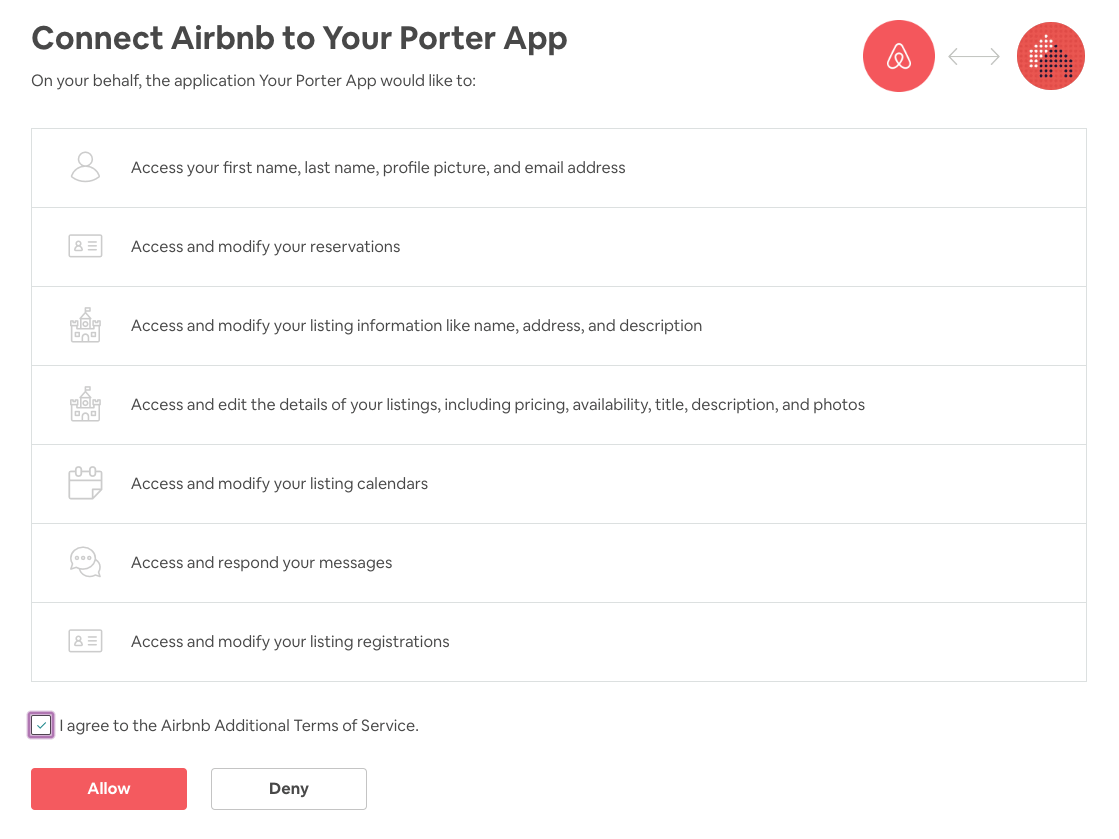 Connect Airbnb Account to Your Porter App