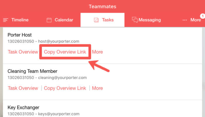 Copy Task Link and Share with Teammates