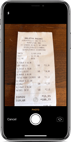 Add Photo of the Receipt