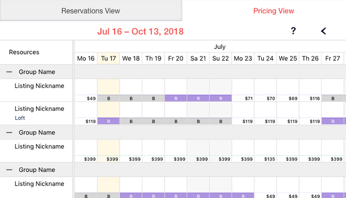 Pricing View in Calendar (Your Porter App)