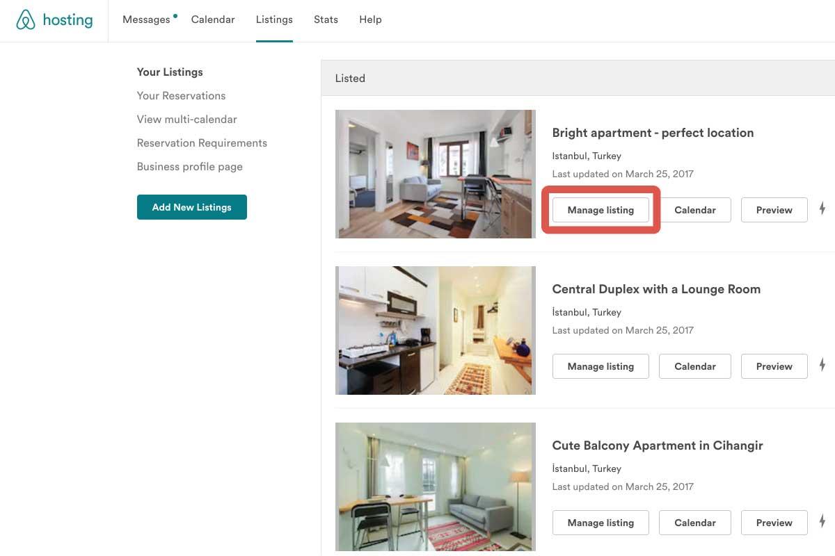 Manage listing