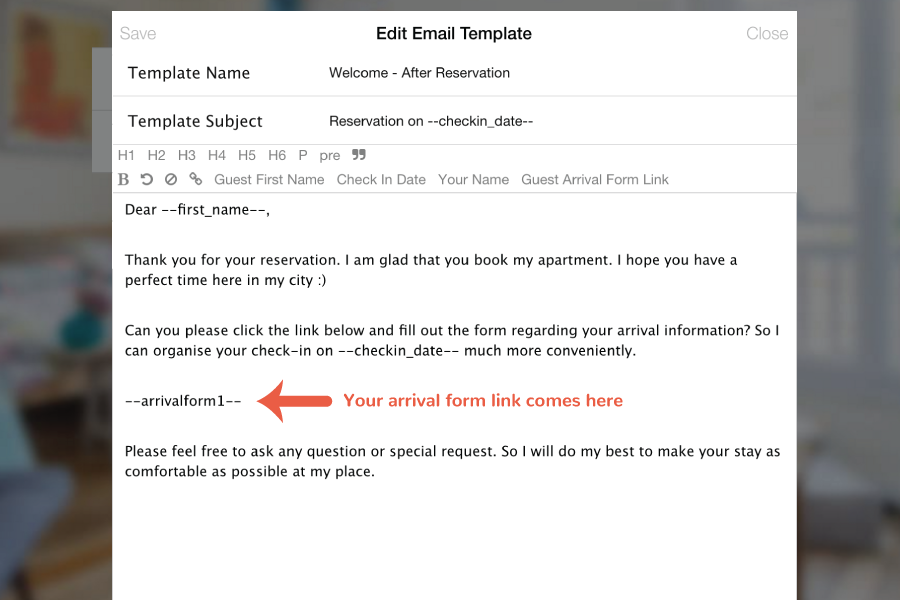 How to use Arrival Form – Guest Check Template